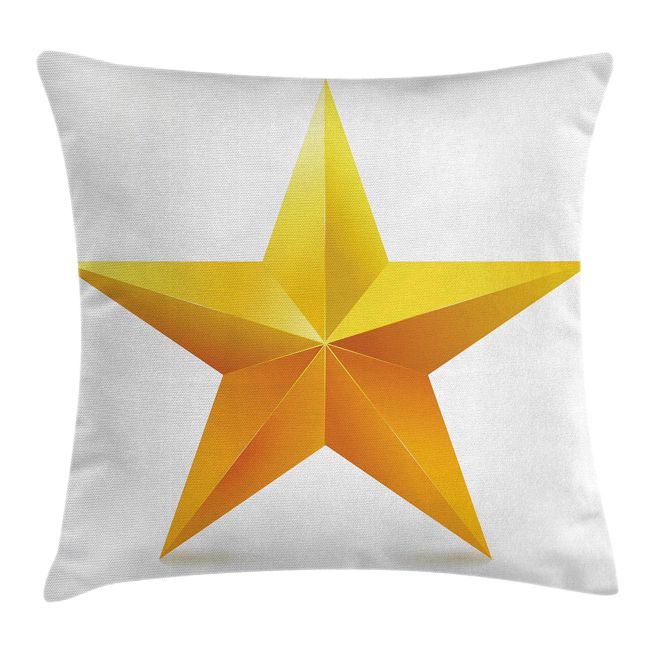 Ambesonne Yellow Decor Throw Pillow Cushion Cover, Single Golden Star Shining on Plain Background Christmas Celebration Art, Decorative Square Accent Pillow Case, 18 X 18 inches, Yellow White