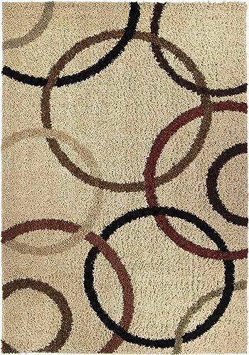 Orian Rugs Impressions Shag Circle Design Bisque Area Rug
