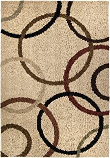 "product image for Orian Rugs Impressions Shag Circle Design Bisque Area Rug, 5'3"" x 7'6"", Ivory"