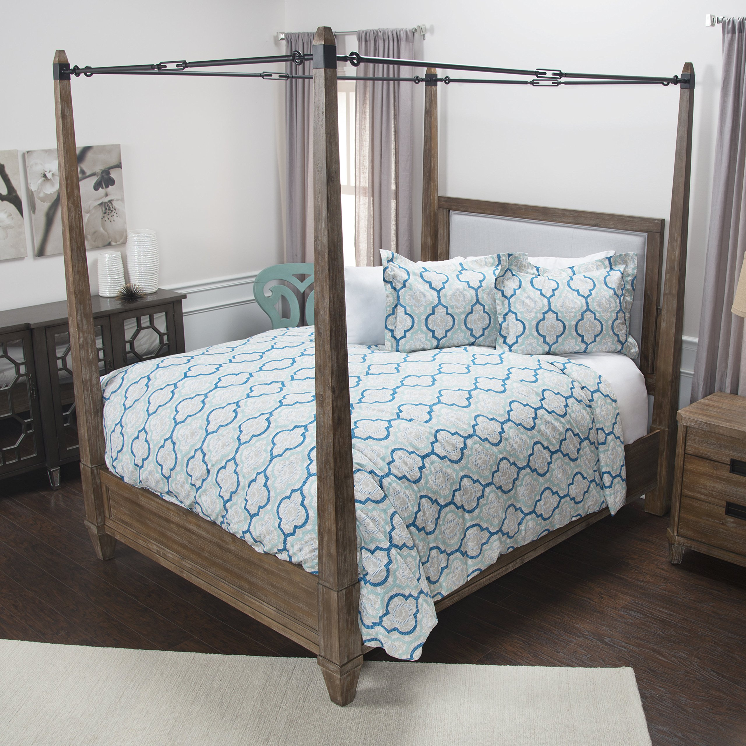 Rizzy Home Young Love Doh Duvet, King, Teal and Peacock Blue
