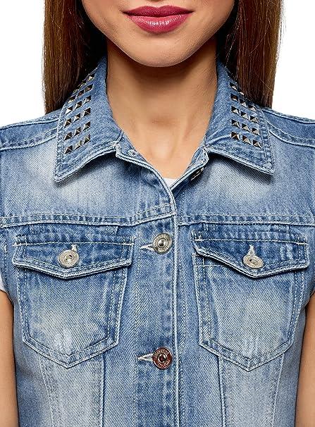 oodji Ultra Womens Denim Vest with Collar Studs