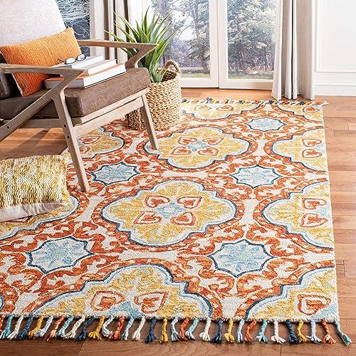 Safavieh Aspen Collection APN217A Beige and Rust Premium Wool Area Rug 8 x 10