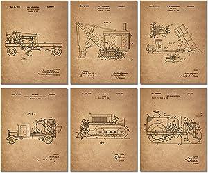 Construction Trucks Patent Prints - Set of 6 Vintage Vehicle 8x10 Photos