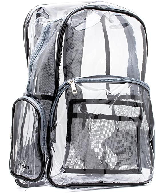 Heavy Duty Clear Backpack Grey, Quality Transparent, See-Through Bag, Large (Grey, Black Trim)