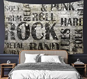 Grunge Rock Music On Brick Wall Tapestry 60
