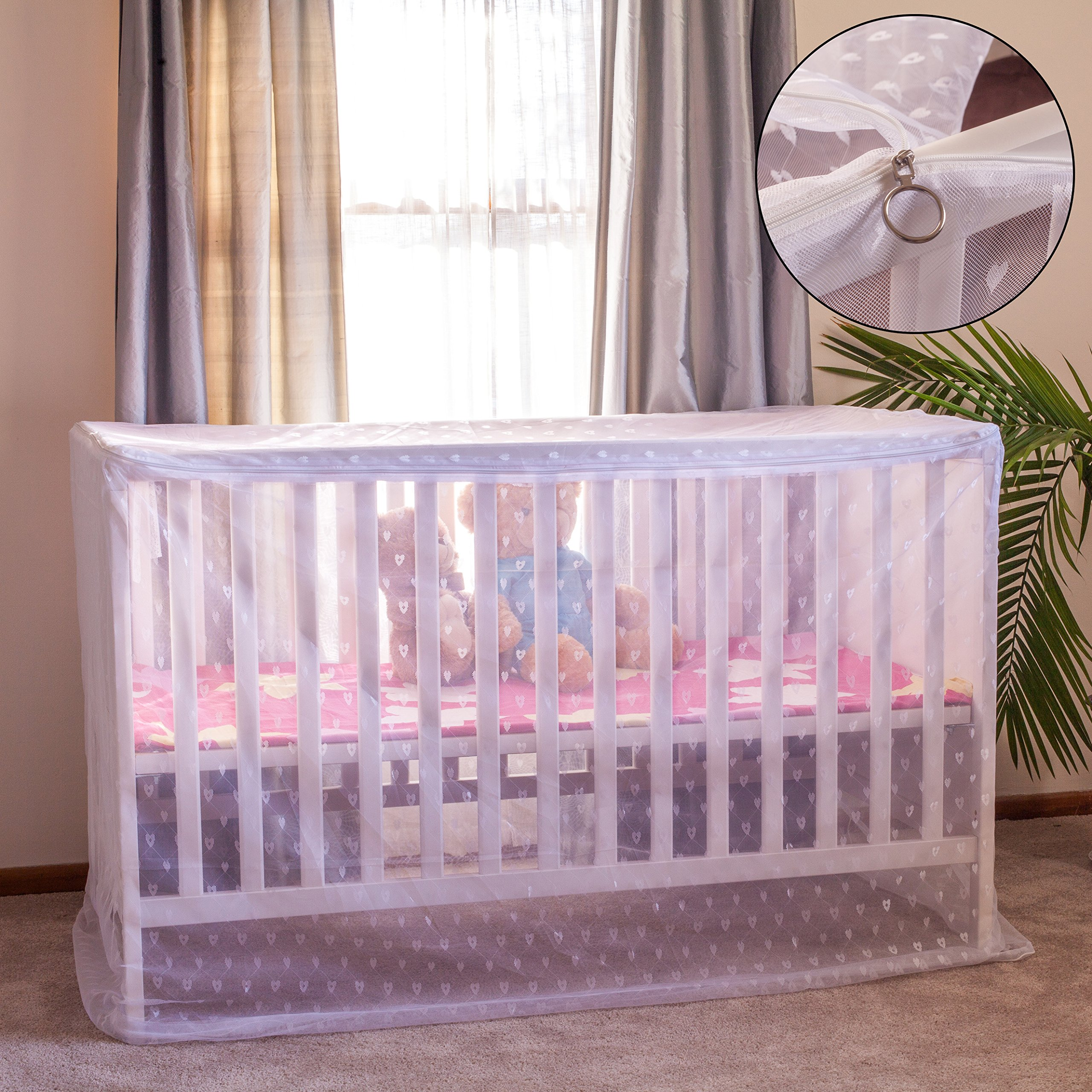 Artistic Baby Mosquito Net for Crib/Playpen/Stroller, with Bonus ebook, Heart-Shaped Diamond mesh, Corner tie Ribbons, top Dual-Direction Zipper, and Bottom Drawstring