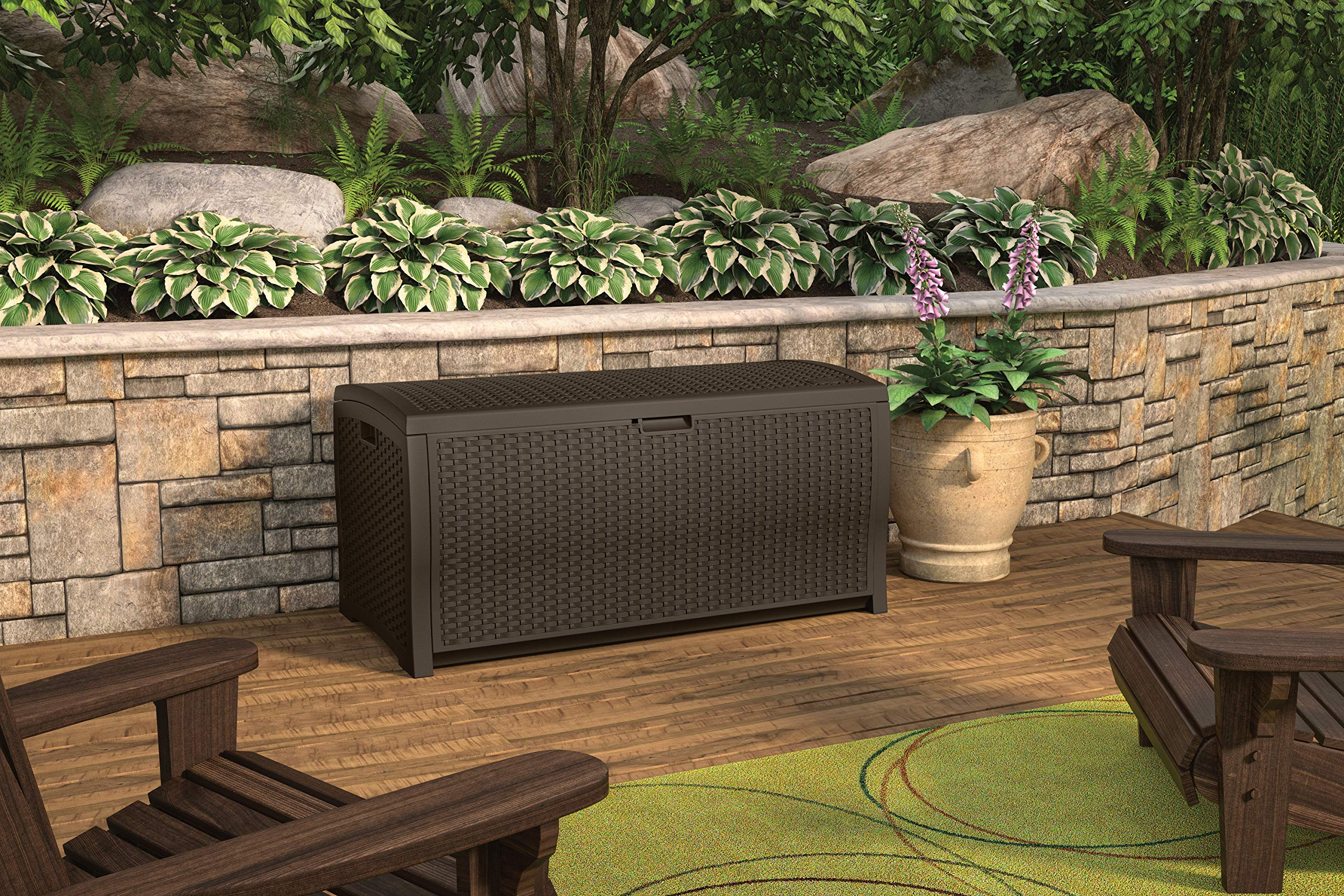 Suncast 99 Gallon Resin Wicker Patio Storage Box - Waterproof Outdoor Storage Container for Toys, Furniture, Yard Tools - Store Items on Deck, Porch, Backyard - Mocha by Suncast (Image #2)