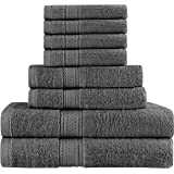 Utopia Towels Premium 8 Piece Towel Set (Grey) - 2 Bath Towels, 2 Hand Towels and 4 Washcloths Cotton Hotel Quality Super Soft and Highly Absorbent