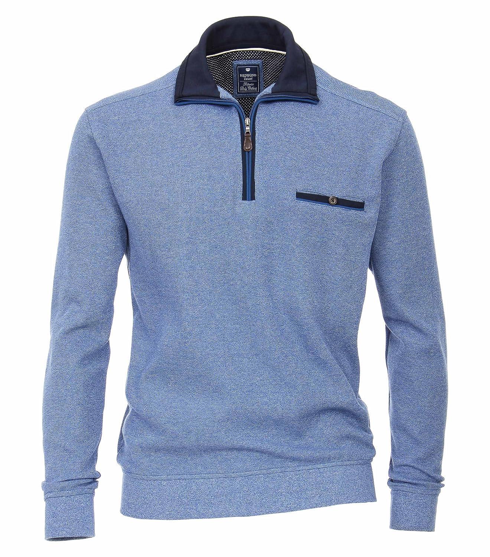 ROTmond Herren Sweat-Shirt Unifarben Brusttasche 100% Baumwolle