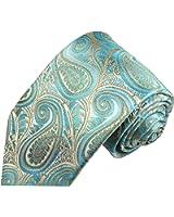 Cravate homme turquoise gris paisley 100% cravate en soie ( longueur 165cm )