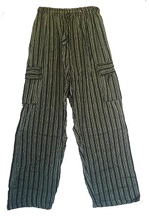 3a62d0cc3d Siddartha Mens Yoga Pants Handloomed Cotton Elastic Waist Cargo Pockets at  Amazon Men's Clothing store: