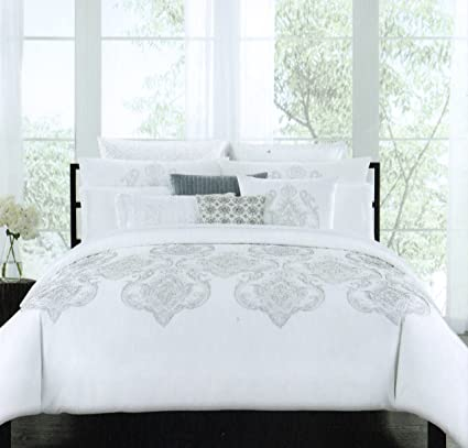 Tahari Home Marossy Embroidered Damask Medallions Pc King Duvet Cover Set Gray White Grey