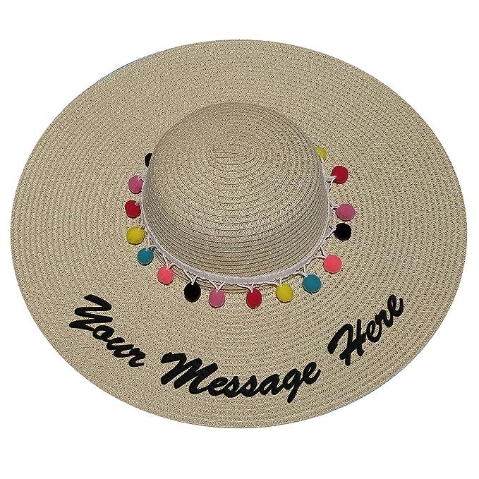 e2e07a97e1544 Amazon.com  JewelryNanny Custom Womens Floppy Sun Straw Hat - Embroider  Your Own Words
