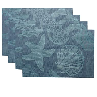 Doupoo Sea Place Mats Beach Theme,Heat Resistant Placemats for Dining Table Mats Set of 4 - Nautical Blue Reversible Placemats Starfish Seashell Conch