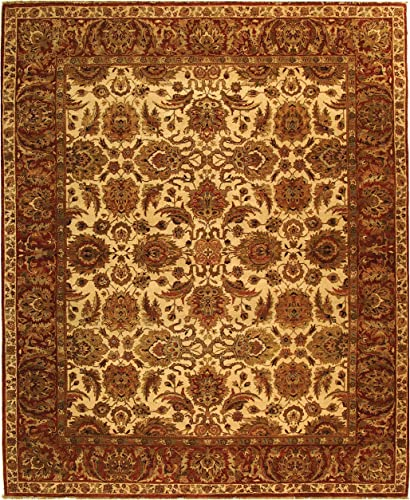 Safavieh Old World Collection OW115G Hand-Knotted Traditional Oriental Ivory and Rust Wool Area Rug 8 x 10