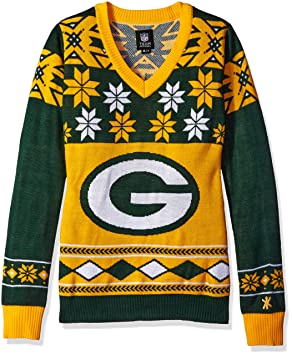 Green Bay Packers Nfl Womens Big Logo V Neck Ugly Christmas Sweater