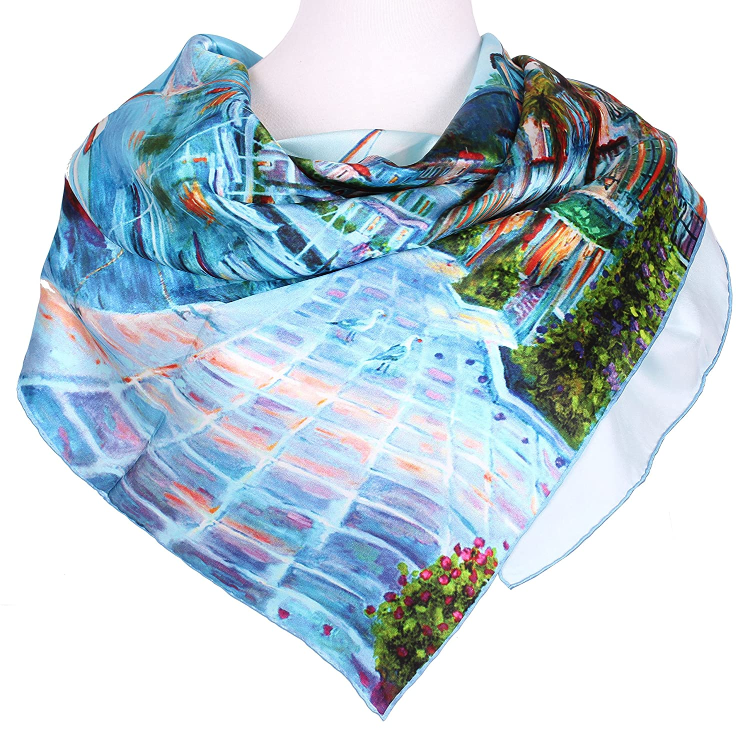 "Galsang Women's Unique ""Seaside Scene"" Graceful Square Silk Scarf#030"