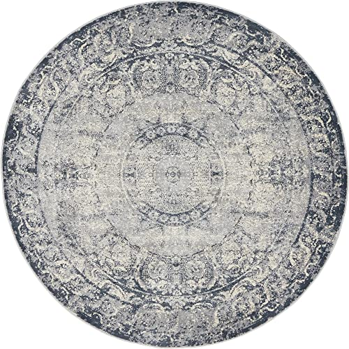 Unique Loom Chateau Collection Distressed Vintage Traditional Textured Dark Blue Round Rug 4 0 x 4 0