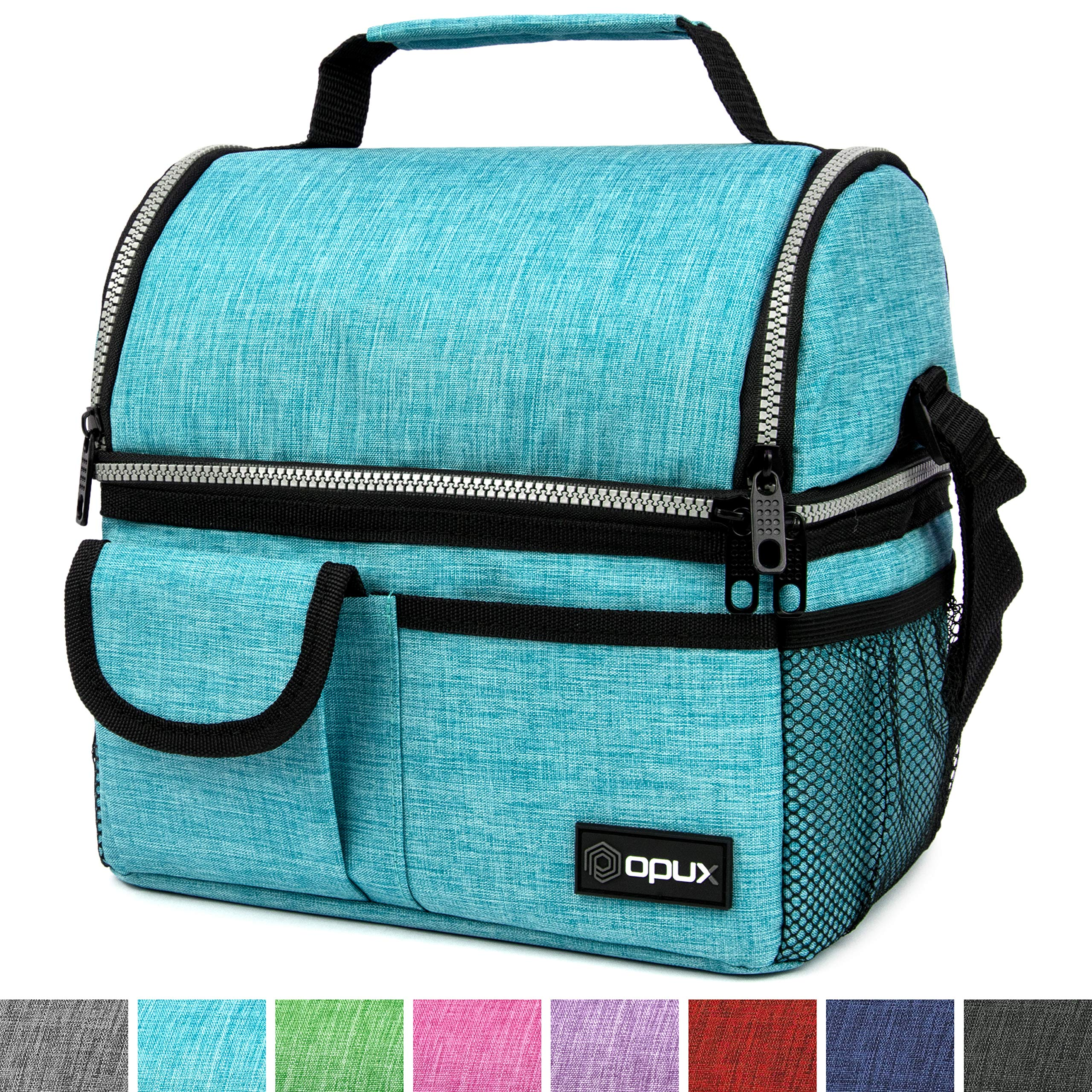 OPUX Deluxe Thermal Insulated Dual Compartment Lunch Bag for Men, Women | Double Deck Reusable Lunch Box with Shoulder Strap, Soft Leakproof Liner | Large School Lunch Tote for Boys, Girls (Turquoise)