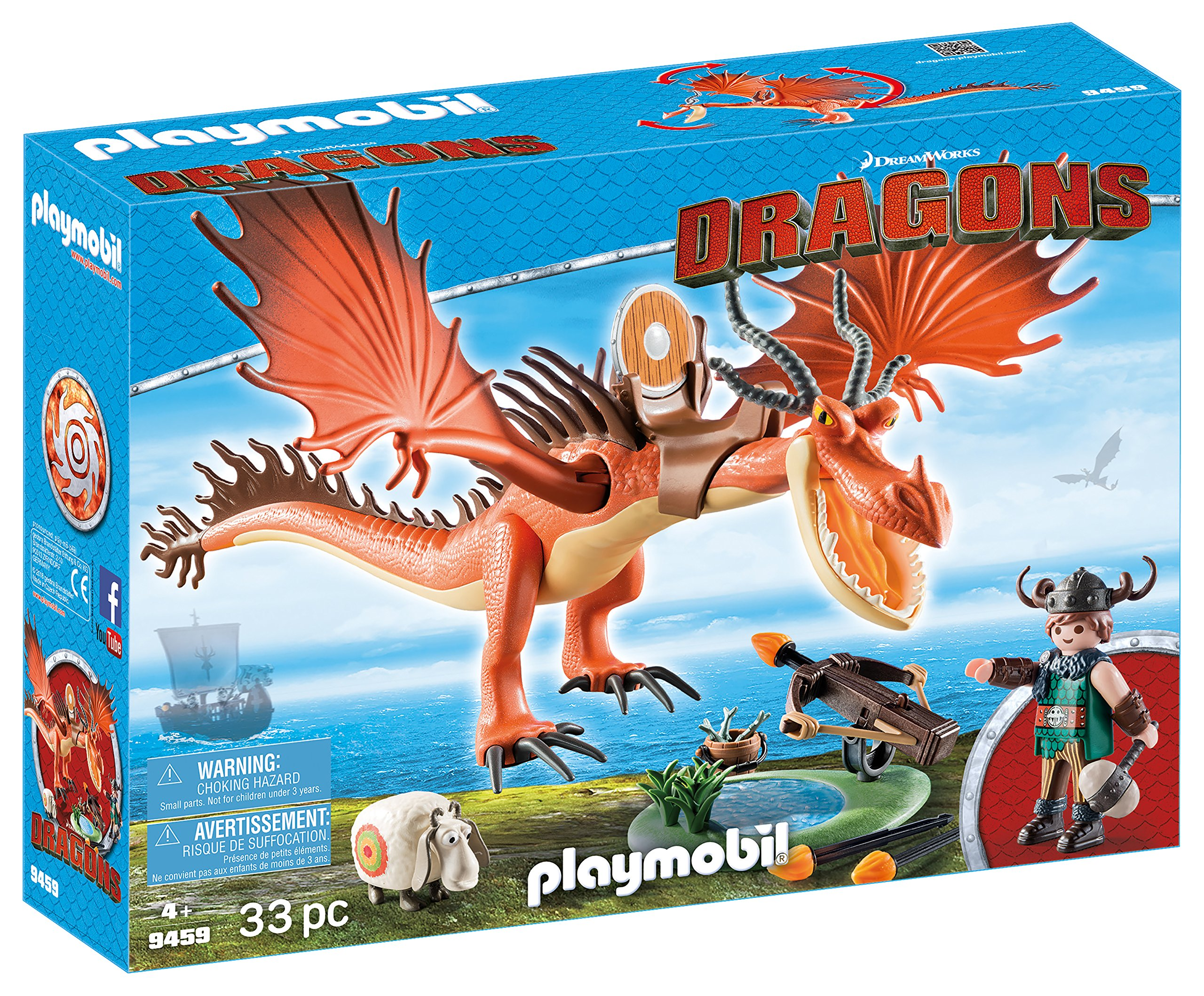 PLAYMOBIL® 9459 How to Train Your Dragon Snotlout with Hookfang, Multicolor