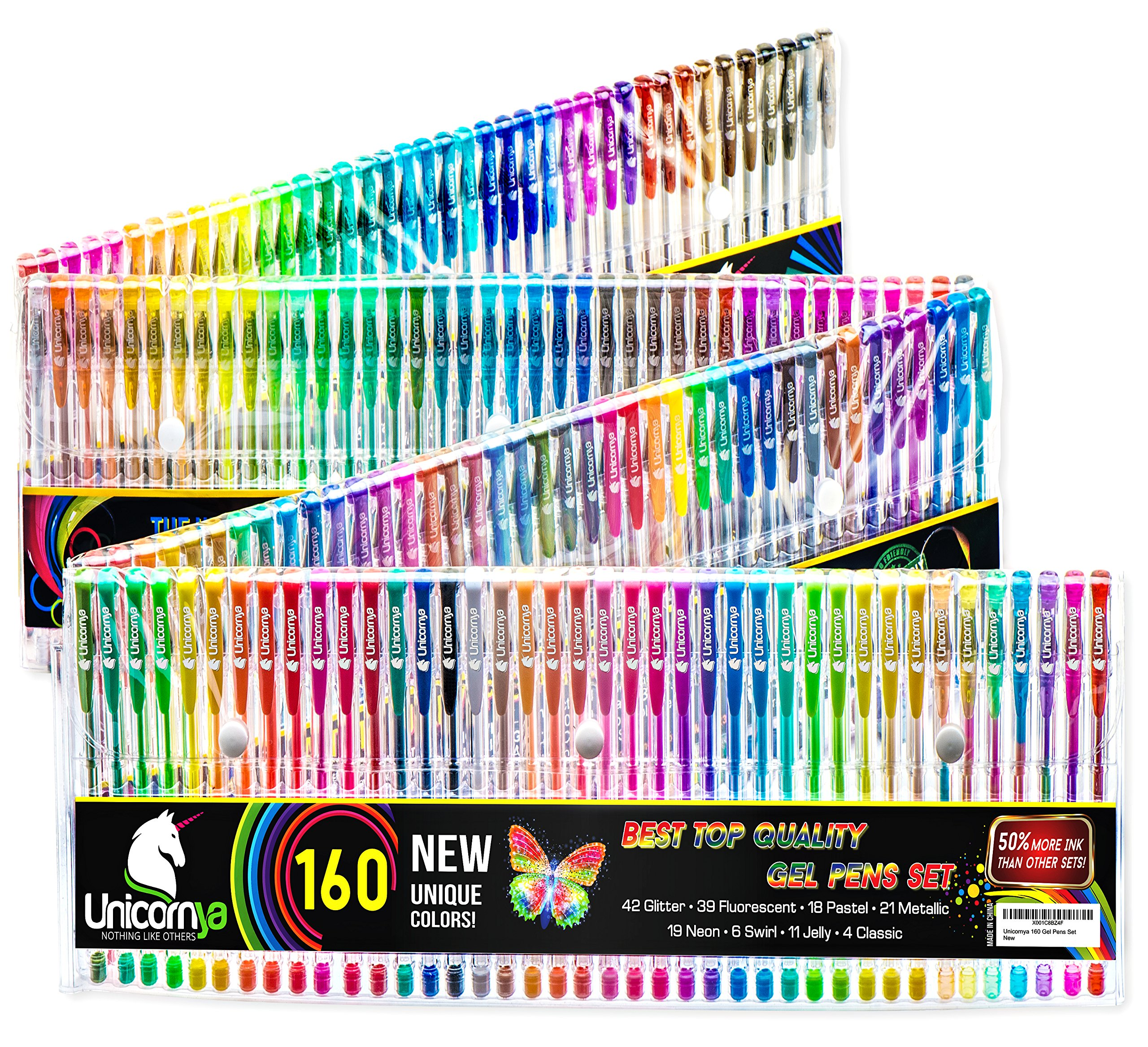 Unicornya Professional 160 Gel Pens Set - 50 Percent More Ink, for Adult Coloring Book - with Case. Unique Colors and Varieties: Glitter, Fluorescent, Pastel, Metallic, Neon. Dry Fast. Eco-Friendly
