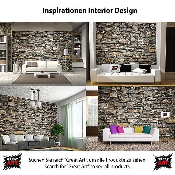 GREAT ART Foto Mural Pared de Piedra Gris - Efecto 3D grey stonewall Tapíz Deco imagen de piedras grises (336x238cm): Amazon.es: Bricolaje y herramientas