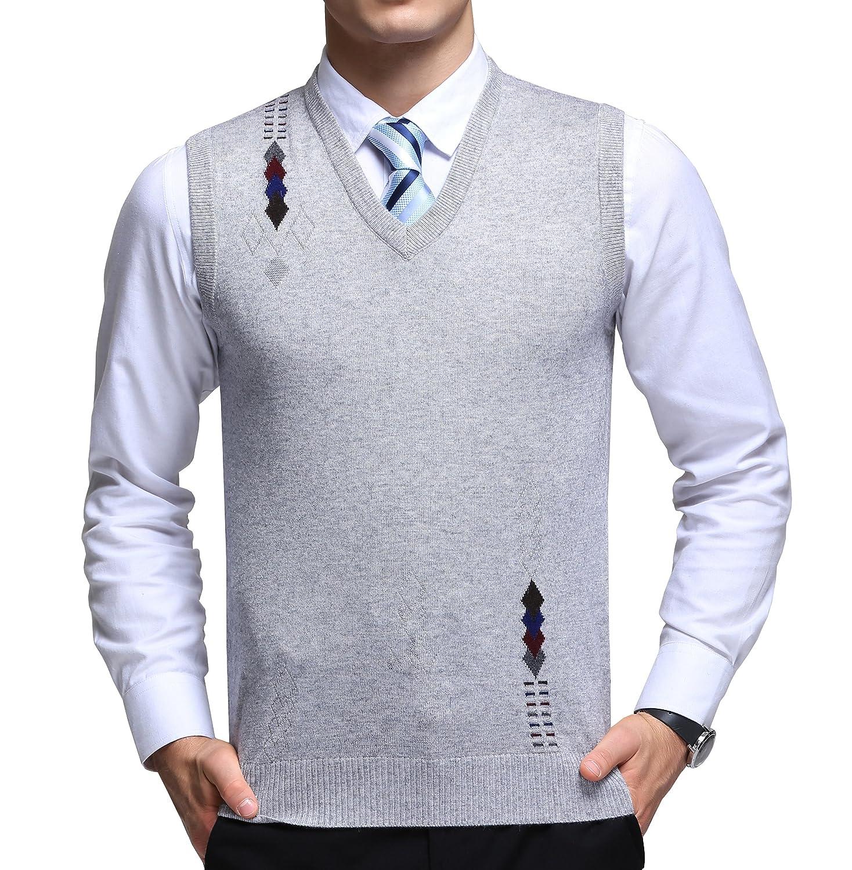 FULIER Gilet senza maniche scollo a V uomo in lana Casual Business Gilet maniche uomo in maglione lavorato a maglia Cardigan Maglieria
