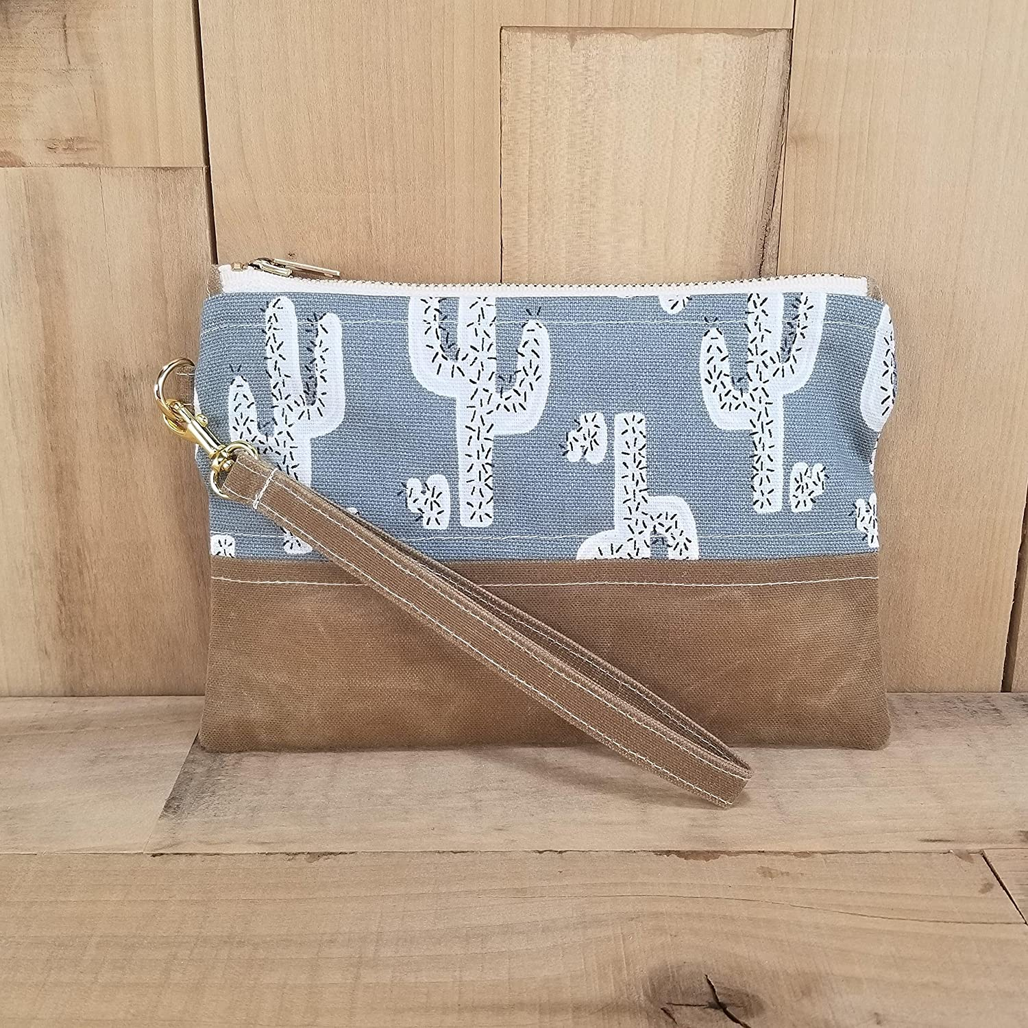 Cactus Print with Waxed Canvas Bottom Wristlet Waxed Canvas Wristlet Cactus Wristlet Wristlets for Women Clutch Bag Cactus Clutch Bag