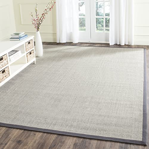 Safavieh Natural Fiber Collection NF441B Hand Woven Marble and Grey Sisal Square Area Rug 8' Square