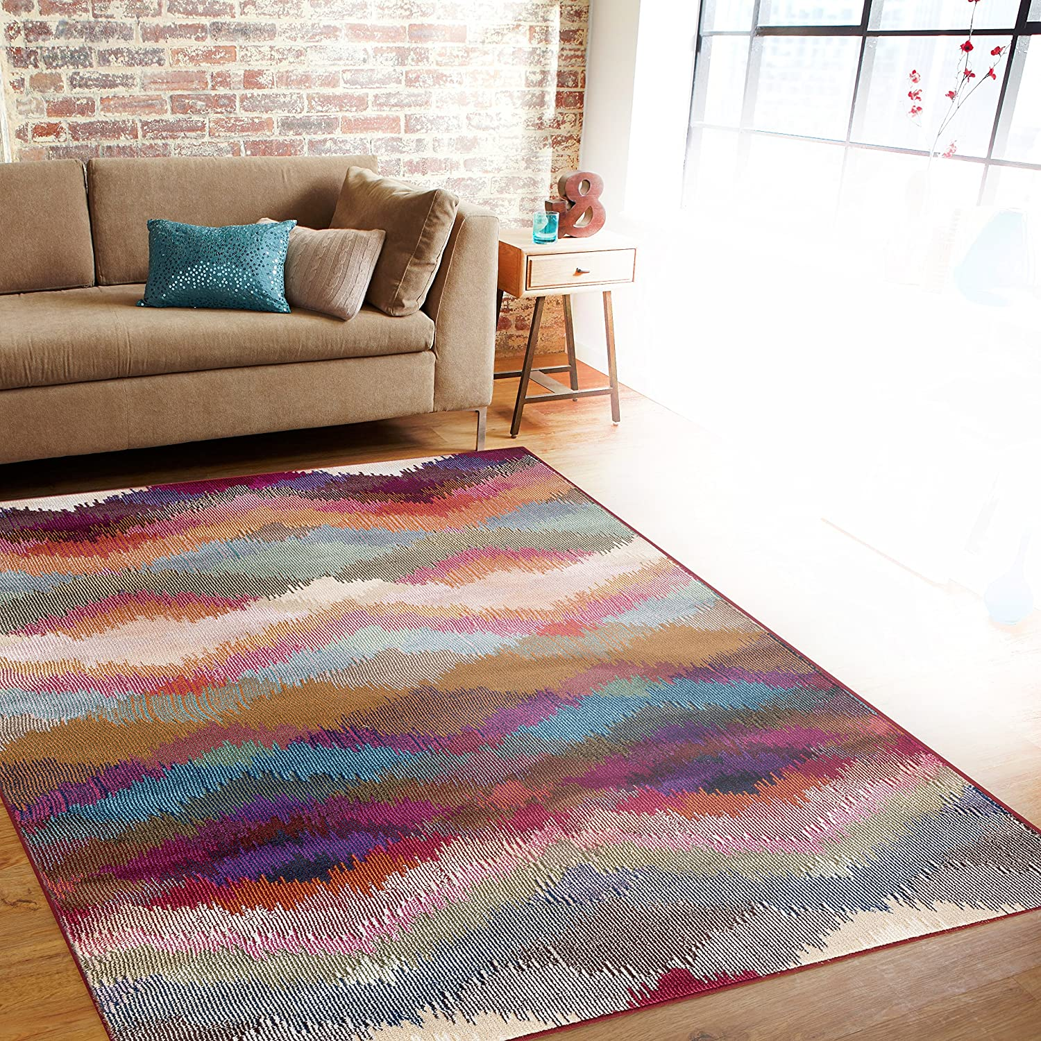 Area rug multi soft distressed modern geometric carpet for Throw rugs for lounge