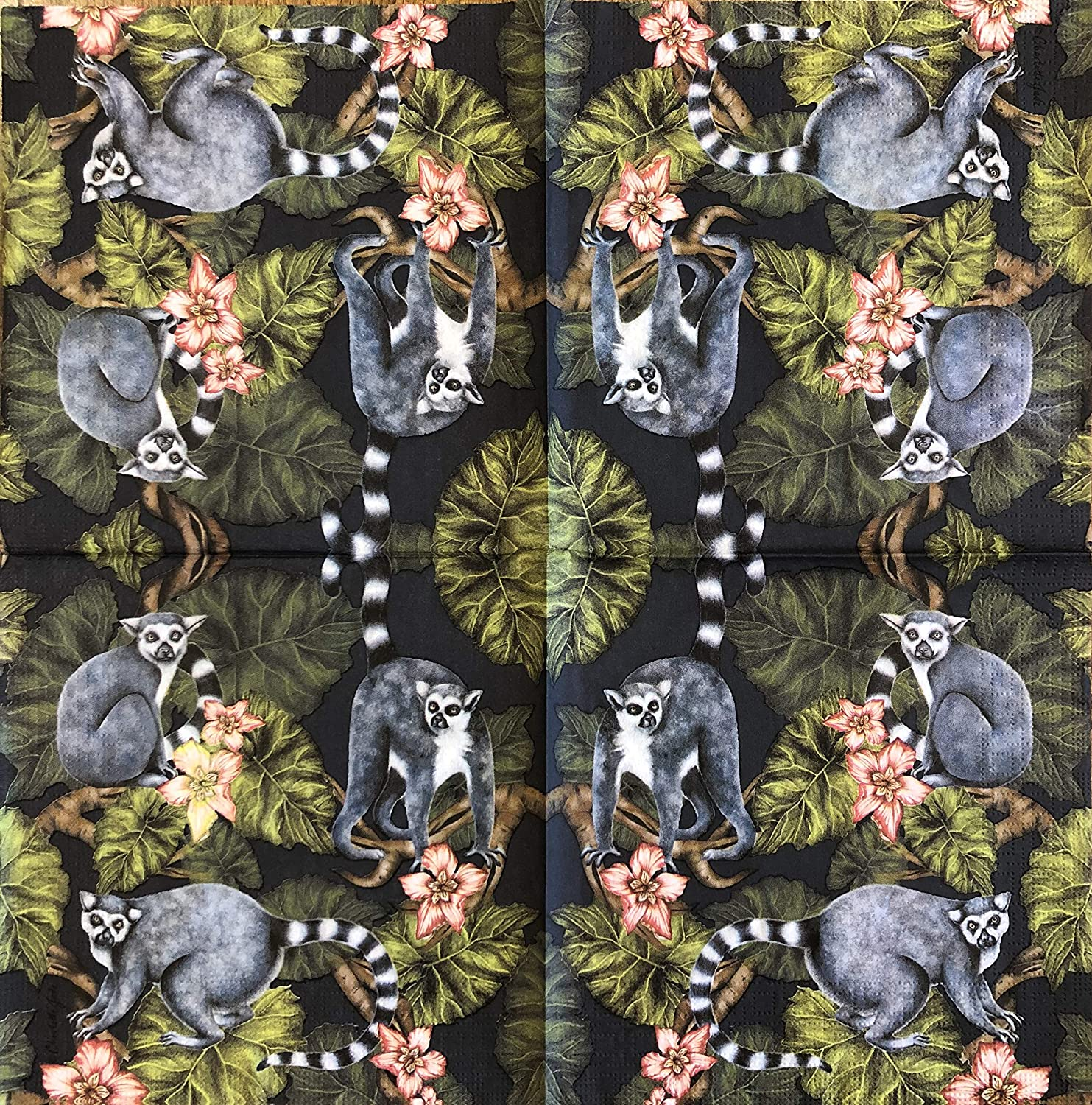 2 single Paper Napkins for DECOUPAGE Crafts Collection Party Macaco Lemur Asia Animals Wild Nature