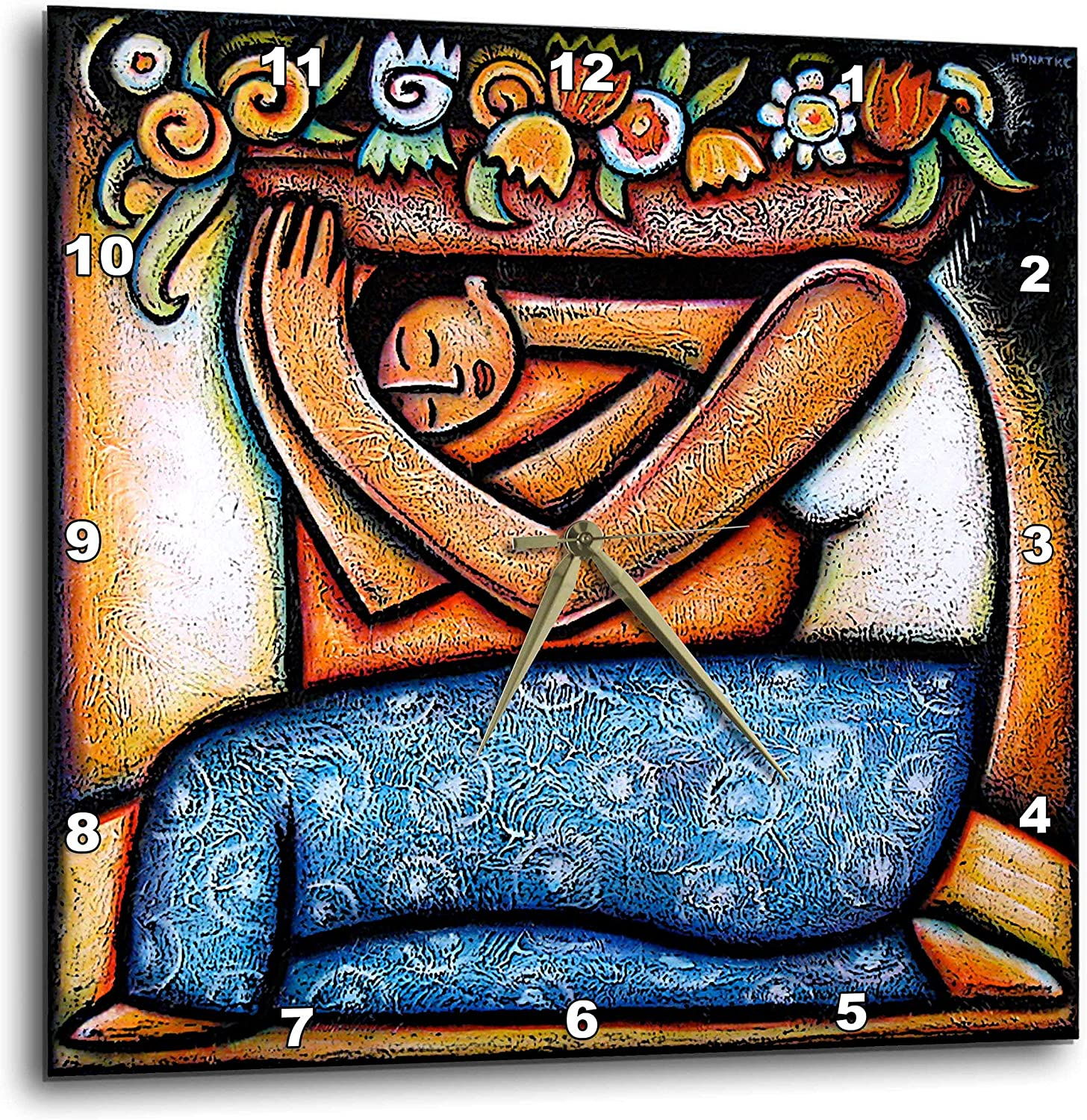 3dRose LLC dpp_21129_3 Flower Girl Mexican Art Colorful Wall Clock, 15 by 15-Inch