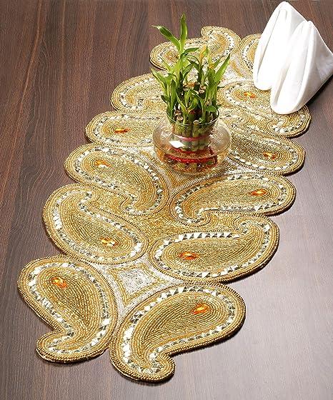 Camino de mesa con cuentas decorativas, tapete para decoración del ...