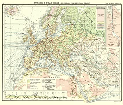 Amazon.com: Old World Map - Europe, Western Asia Commerce - Newnes ...