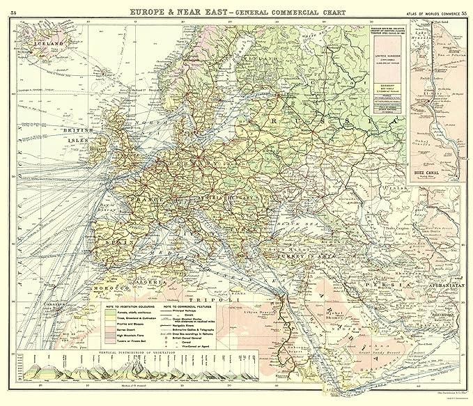 Amazon Com Old World Map Europe Western Asia Commerce Newnes