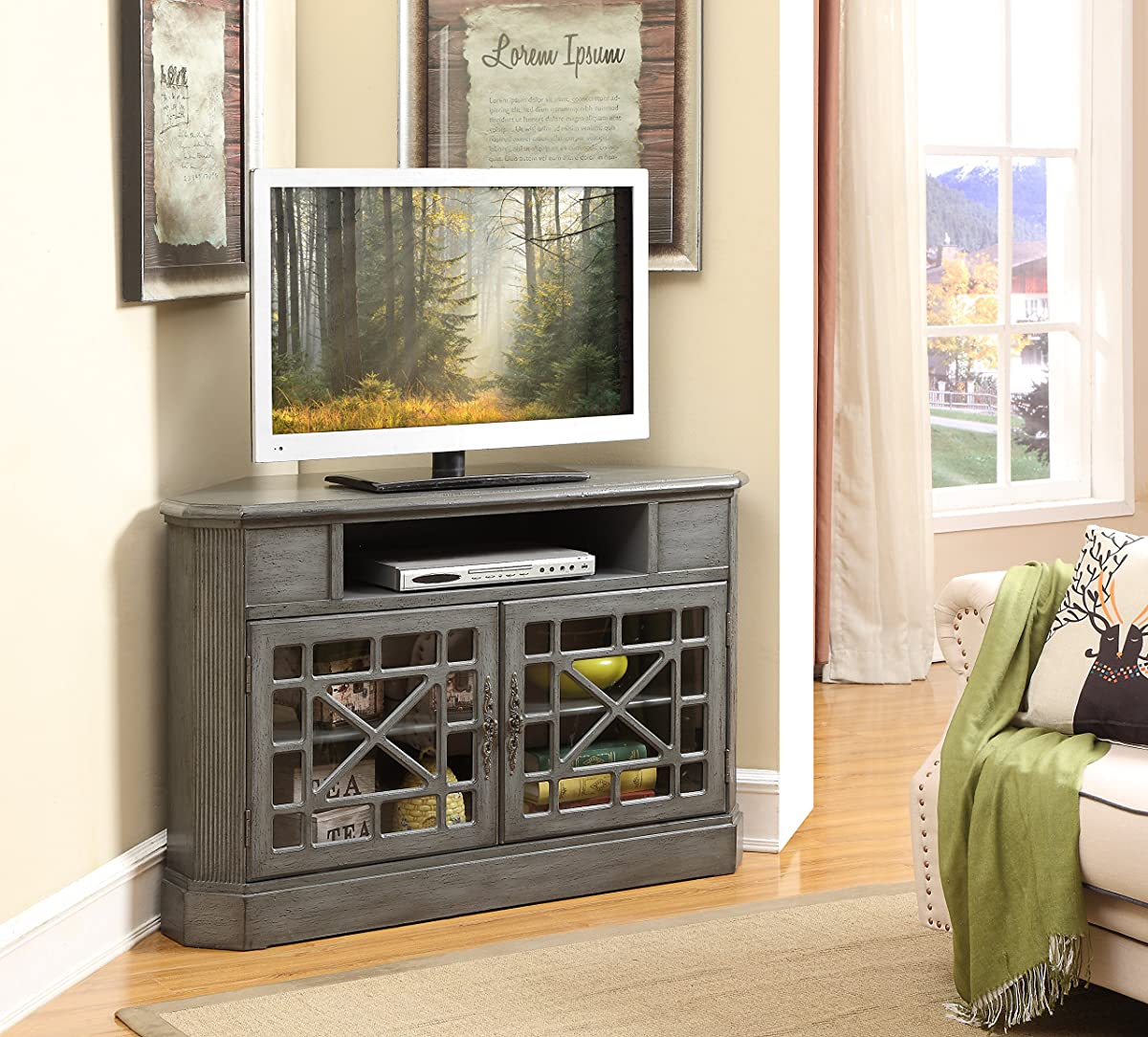 Treasure Trove Accents 17594 Two Door Corner Media Cabinet, Texture Grey