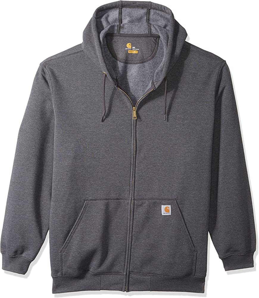Small Carhartt Mens Midweight Zip Front Hooded Sweatshirt K122 Carbon Heather