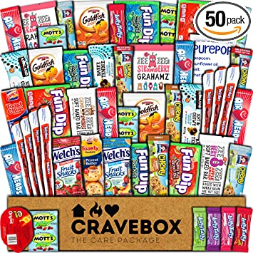 Amazoncom Cravebox Snacks 50 Count Ultimate Care Package Variety