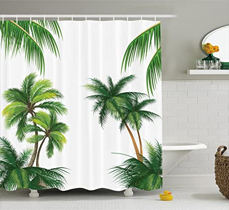 Amazon.com: Tropical Shower Curtain by Ambesonne, Coconut Palm Tree ...