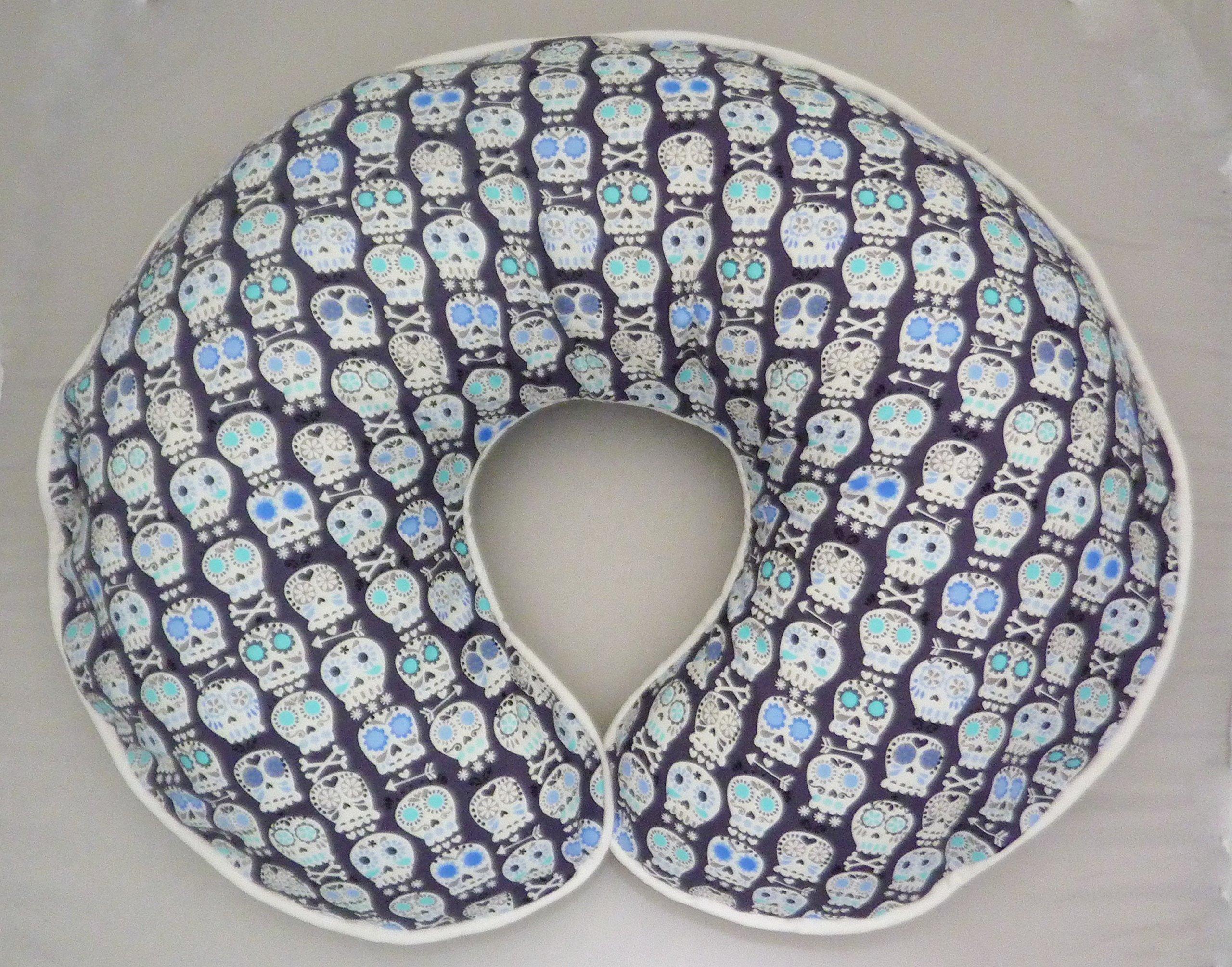 Nursing Pillow Slipcover Bonehead Skulls by Michael Miller in Charcoal