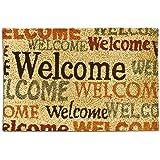 """Relaxdays – Felpudo """"Welcome"""" para la entrada de su hogar hecho de fibras de coco y PVC con medidas 40 x 60 cm antideslizante elemento decorativo, color natural"""