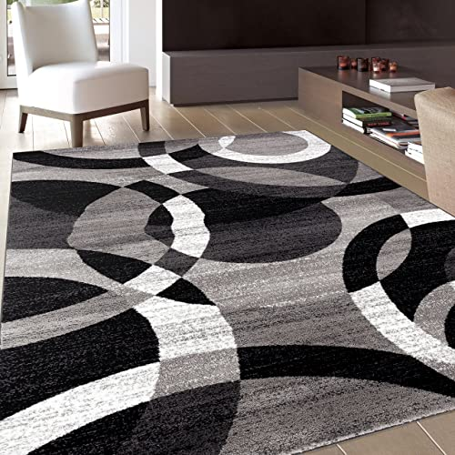 Contemporary Modern Circles Gray Area Rug Abstract 5 3 X 7 3