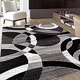 "Rugshop Contemporary Modern Circles Abstract Area Rug, 5'3"" x 7'3"", Gray"