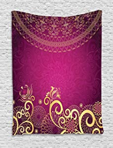 """Lunarable Pink and Yellow Tapestry, Vintage Classic Ornamental Swirled Bohemian Traditional Pattern, Wall Hanging for Bedroom Living Room Dorm Decor, 60"""" X 80"""", Magenta Yellow"""