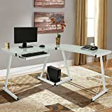 Best Choice Products L-Shape Computer Desk PC Glass Laptop Table Workstation Corner Home Office White