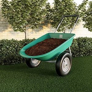 "2-Wheeled Garden Wheelbarrow "" Large Capacity Rolling Utility Dump Cart for Residential DIY Lawn by Green Metal"