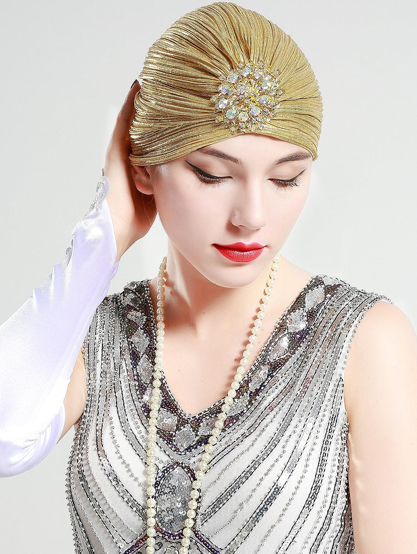 ArtiDeco Damen Turban Hut mit Kristall 1920s Retro Kopf Accessoires