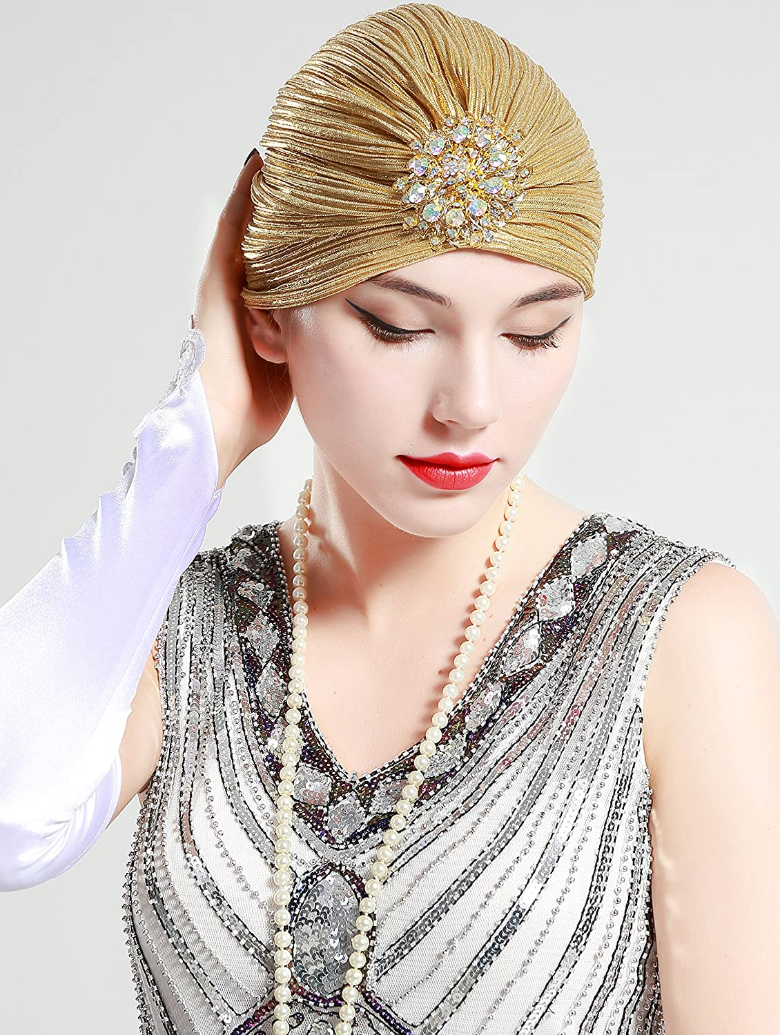 1920s Style Hats BABEYOND Womens Ruffle Turban Hat Knit Turban Headwraps with Detachable Crystal Brooch for 1920s Gatsby Party $11.99 AT vintagedancer.com