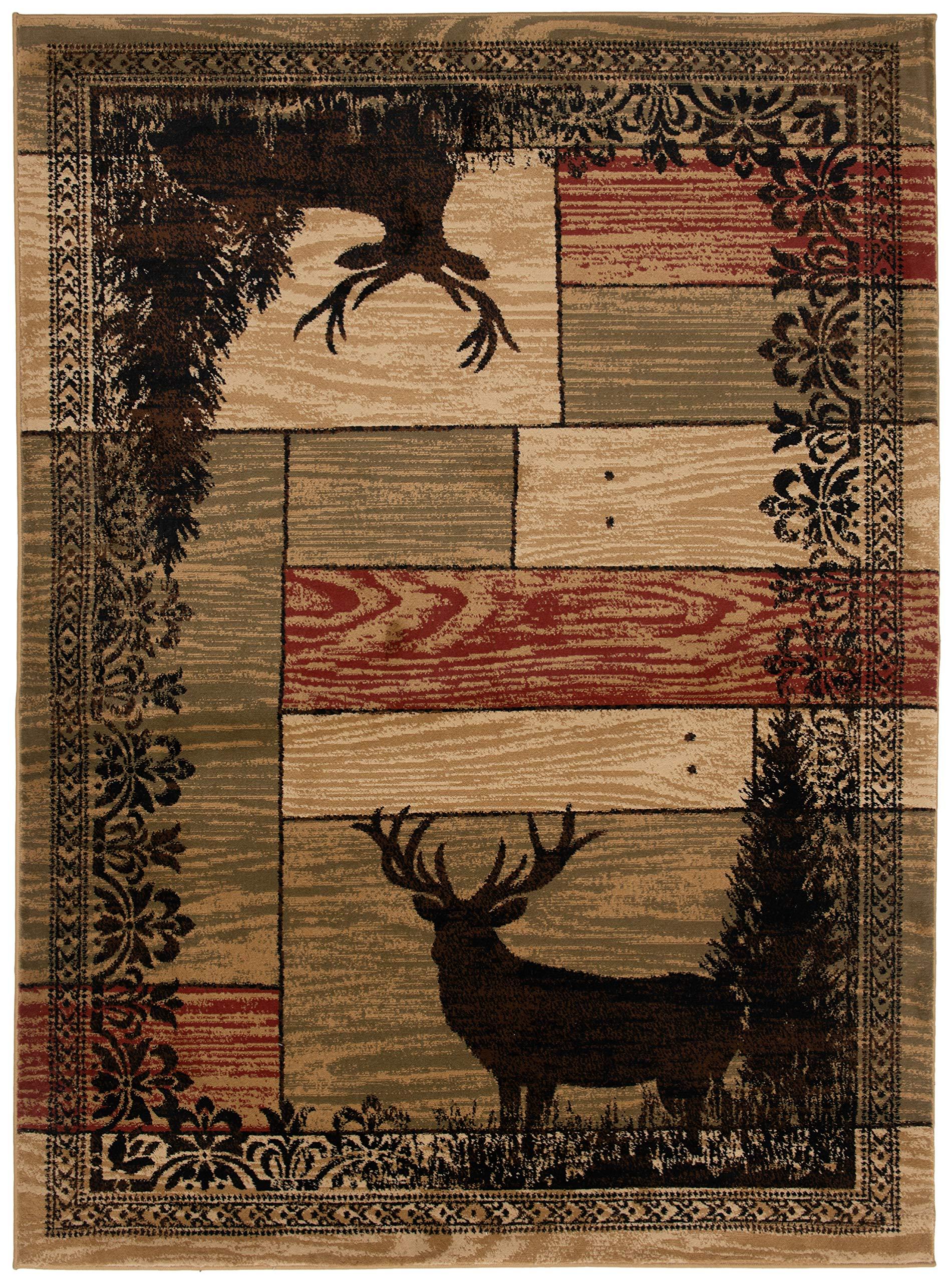 Mayberry Rugs AD8065 2X8 AMER DEST Woodgrain Elk Area, 2'3'' x7'7, Multi