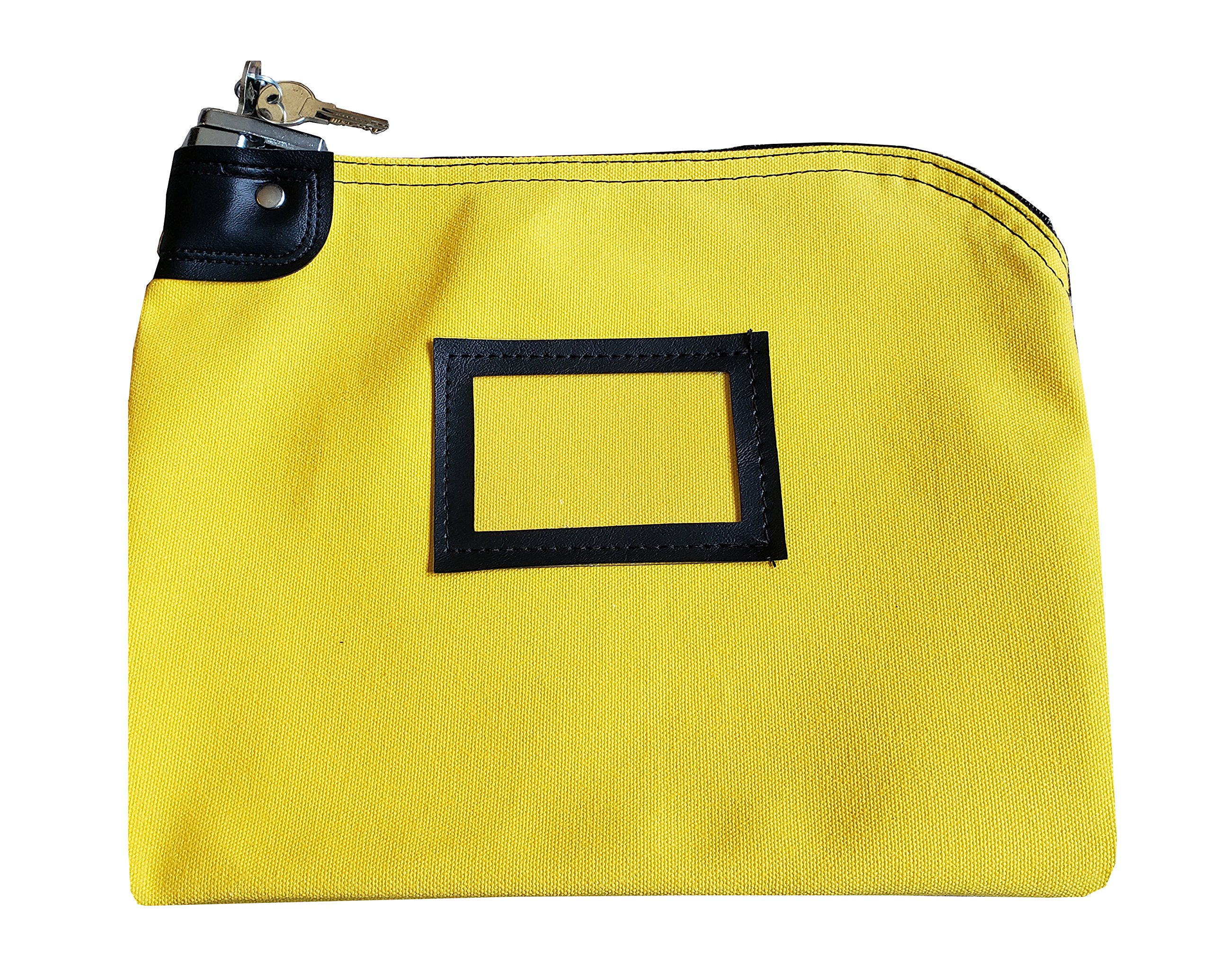 Locking Money Bank Bags with Keys (Small) Deposit Cash, Coins, Bills, Change | Lockable Security, Keyed Entry | Heavy-Duty Canvas | Professional Business Banking (Yellow)